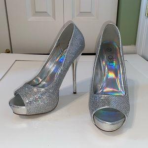 Shiny Silver Pumps
